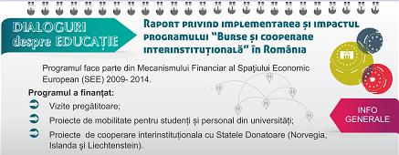 """Raport privind implementarea și impactul programului """"Burse și cooperare interinstituțională"""" în  România"""